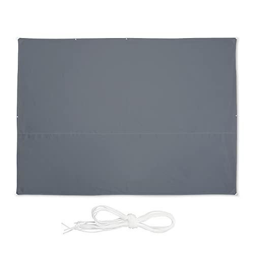 Relaxdays Sonnensegel rechteckig, 3,5 x 4,5 m, wasserabweisend, UV-beständig, mit Spannseilen,...