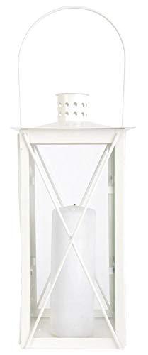 Esschert Design Laterne, weiß, mittel, Windlicht, Kerzenhalter, Deko-Laterne, Maße 17,5 x 17,5 x...