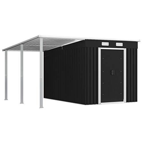 FAMIROSA Gerätehaus mit Vordach Anthrazit 336×270×181 cm Stahl