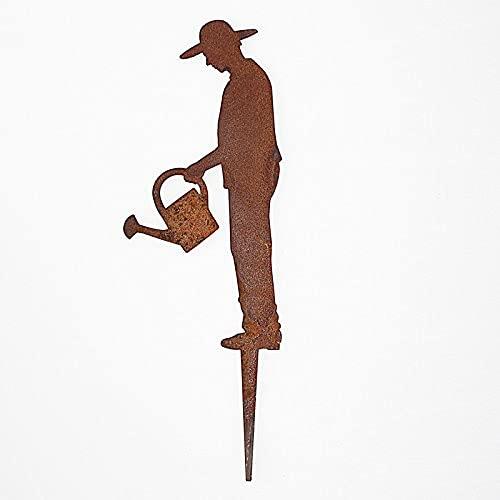 SAREMO Rost Figur Gärtner Gerhard mit Gießkanne, H ca. 21 cm + Spieß