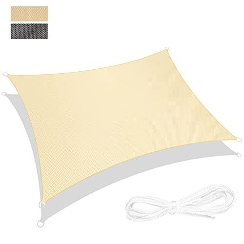 RATEL Sonnensegel Sand 3 × 4 m Rechteck, wasserdicht Windschutz mit 95% UV Schutz Sonnenschutz für...