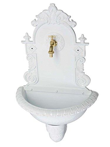 aubaho Waschbecken Wandbrunnen Wein Garten Alu Weiss antik Stil Brunnen Waschplatz Bad