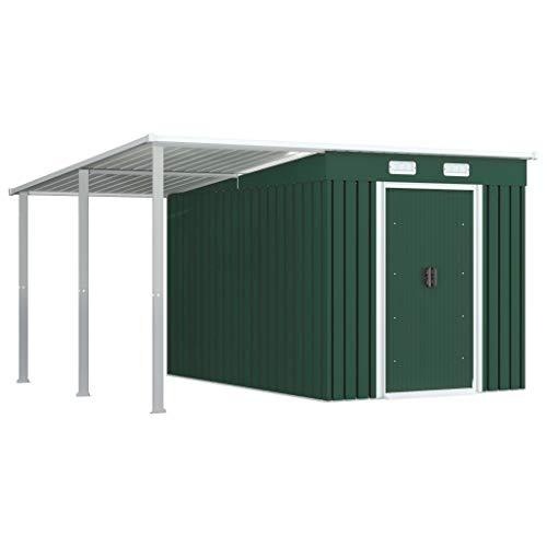 FAMIROSA Gerätehaus mit Vordach Grün 336×270×181 cm Stahl