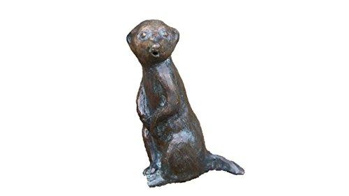 Steinfiguren Horn Wasserspeier Erdmännchen, Tierfigur für Garten & Teich aus Bronze