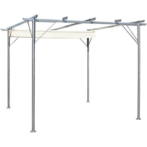 Festnight Stahl Pergola Gartenpergola mit Verstellbarem Dach Cremeweiß 3 x 3 x 2,25 m für Garten...