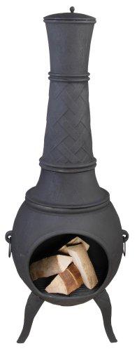 Sehr großer schwarzer Terrassenofen aus Gusseisen mit seitlichen Griffen und dekorativem...