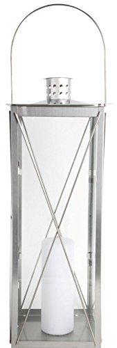 Esschert Design Laterne, Windlicht, Gartenlaterne, Edelstahl, 50 cm