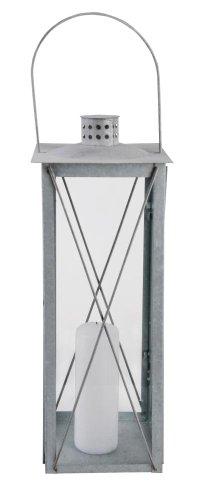 Esschert Design Laterne, Windlicht Farol in grau aus verzinktem Metall, eckig, Größe L, ca. 20 cm...