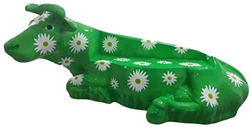Casa Padrino Designer Sitzbank Kuh mit Blumen Design Grün/Weiß 200 x H. 98 cm - Wetterbeständige...