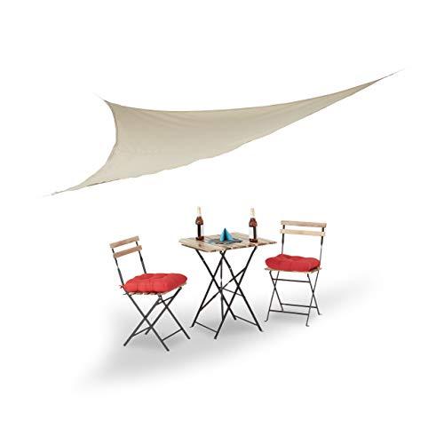 Relaxdays Sonnensegel, dreieckig, mit Spannseilen, Garten, Terrasse & Balkon, Outdoor & Indoor, 3,5...
