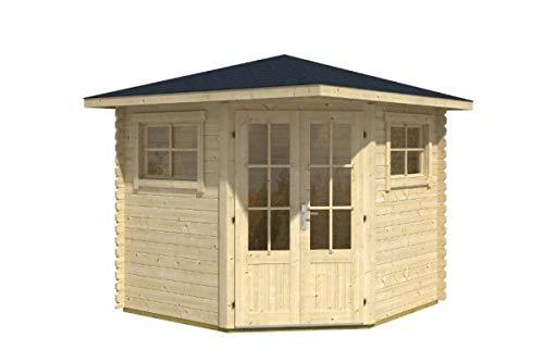 Alpholz 5-Eck Gartenhaus Sunny-B aus Massiv-Holz | Gerätehaus mit 28 mm Wandstärke | Garten...