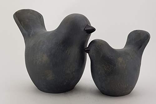 KUHEIGA Große Vögel Betonoptik, Gartenfiguren Spatz H:37/23cm, Figur Vögel wetterfest