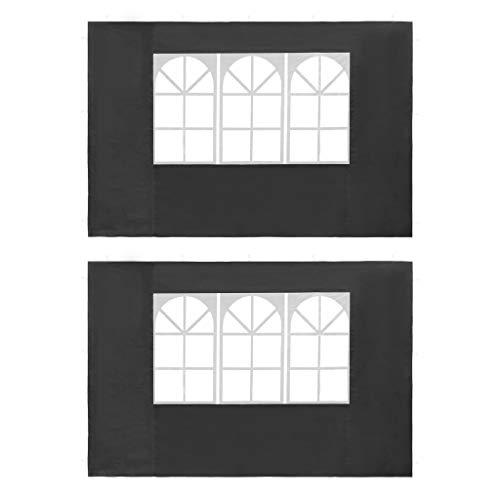 vidaXL 2X Seitenteil mit Fenster PE Anthrazit Seitenwand Partyzelt Pavillon