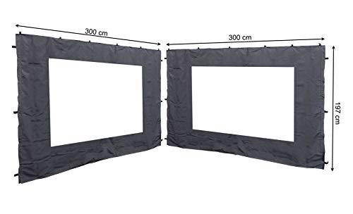 QUICK STAR 2 Seitenteile mit PE Fenster 300x197cm für Rank Pavillon 3x3m Seitenwand Anthrazit RAL...
