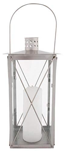 Esschert Design Laterne, Windlicht, Gartenlaterne aus Edelstahl, eckig, Größe M, ca. 17 cm x 17 cm...
