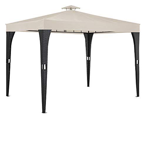 Deuba Pavillon 3x3m Poly Rattan Dachhaube Schmutzabweisend UV-beständig Gartenzelt Festzelt...