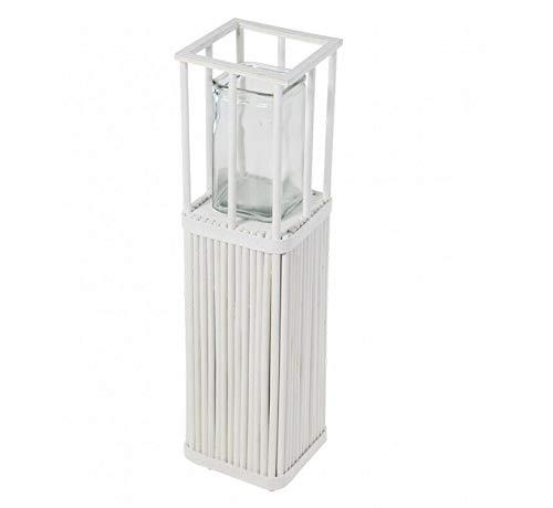 Windlicht Shabby weiß Garten Laterne Fackel Holz Glas Kerzenhalter Teelicht (60 cm)