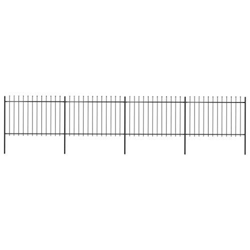 Festnight Gartenzaun mit Speerspitzen Stahl 6,8 x 1,2 m Schwarz Schmuckzaun Zaunelemente Gitterzaun