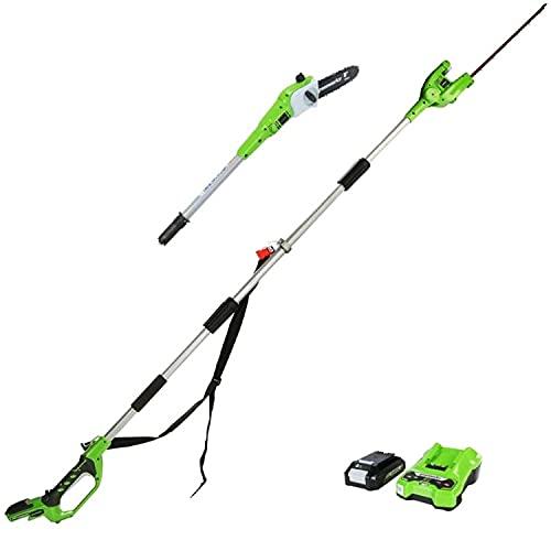 Greenworks Akku-Hochentaster und Akku-Heckenschere 2in1 G24PSHK2 (Li-Ion 24V 20cm Schwertlänge und...