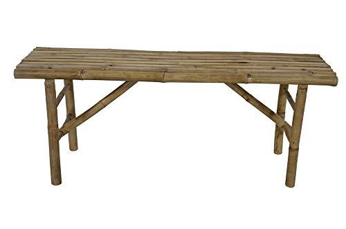 Lesli Living Hochwertige Sitzbank aus Bambus 120 cm freistehend mit Platz für 2 Personen Bambusbank...