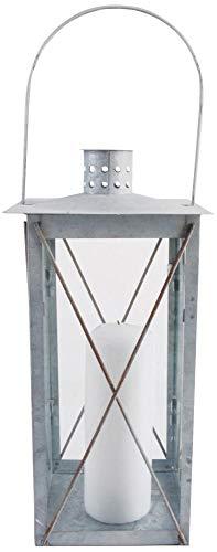 Esschert Design Laterne, Windlicht Farol in grau aus verzinktem Metall, eckig, Größe M, ca. 17 cm...