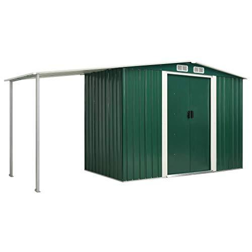FAMIROSA Gerätehaus mit Schiebetüren Grün 386×131×178 cm Stahl