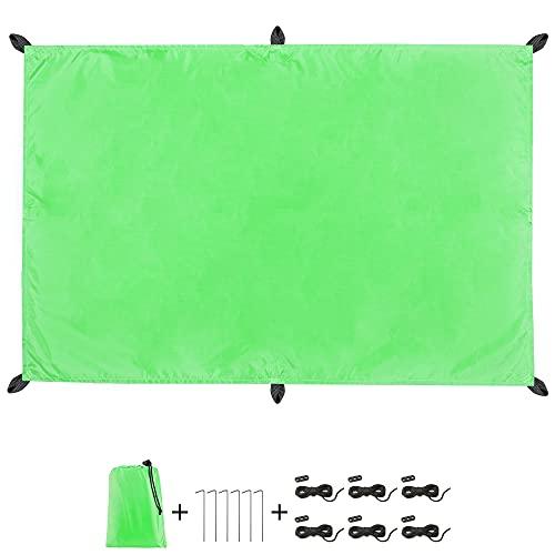 CelinaSun Sonnensegel PES UPF 50+ Outdoor Rechteck 2 x 3m grün mit Viererpack Spannseil elastisch...