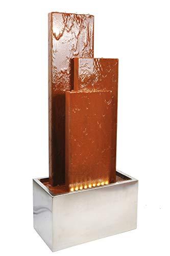 Köhko® Springbrunnen Chile Höhe 104 cm mit LED-Beleuchtung und 3 Wasserwänden aus Cortenstahl...