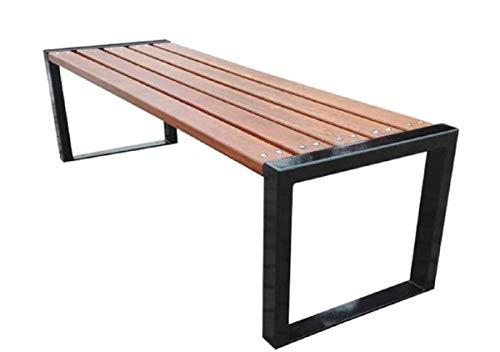 Casa Padrino Gartenbank Braun/Schwarz 150 x 47 x H. 45 cm - Moderne Sitzbank ohne Lehne
