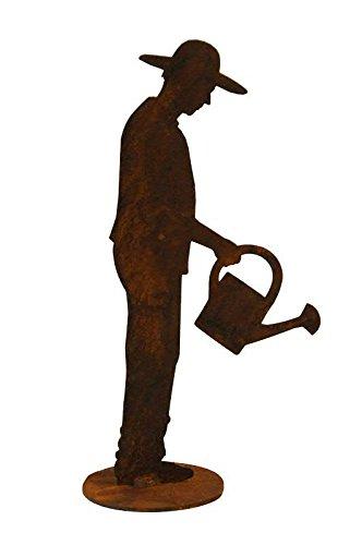Kleine Garten Figur auf Platte - Material: Rost - Gärtner mit Gießkanne - Höhe 30cm - Hochwertige...