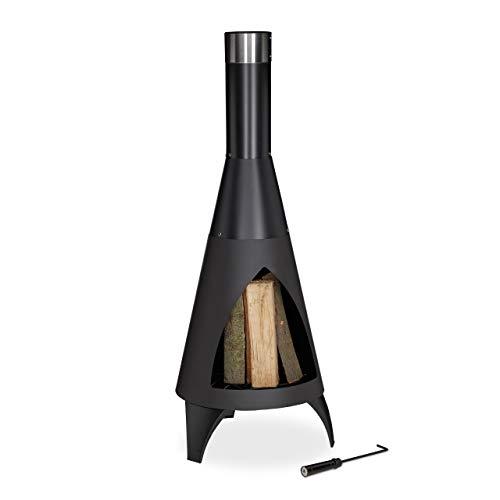 Relaxdays Terrassenofen mit Schürhaken, dekorative Feuerstelle, Gartenofen, für Holz, H x D: 120 x...