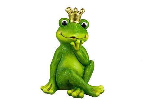 formano Gartenfigur Frosch Froschkönig mit Krone grün Magnesia wetterfest Froschfiguren...