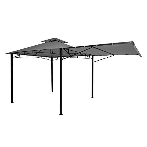 Mendler Pergola HWC-F94, Garten Pavillon, Stahl bewegliche Seitenwand 2,5x2,5m - grau