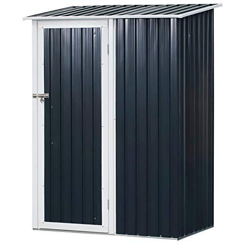 Outsunny Gerätehaus, Gartenhaus, Geräteschuppen mit Tür, Outdoor, Stahl, Grau,143 x 89 x 186 cm