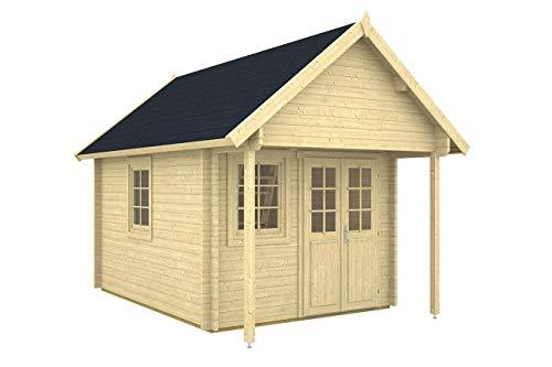 Gartenhaus BUNKIE 40 + Schlafboden Blockhaus 290x380+100cm Vordach Holzhaus 40mm