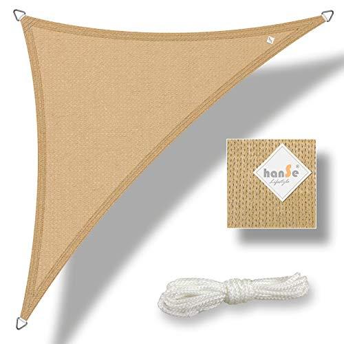 hanSe® Marken Sonnensegel Sonnenschutz Wetterschutz Wetterbeständig HDPE Gewebe UV-Schutz Dreieck...