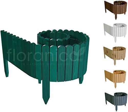 Floranica® Rollborder   Flexibler Holzzaun 203cm   Höhe: 10cm   Grün   Imprägniert   Kiefernholz...