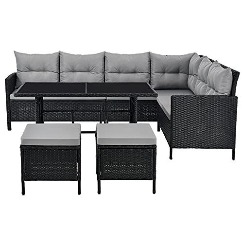 ArtLife Polyrattan Lounge Manacor schwarz – Gartenlounge mit Sofa, Tisch, 2 Hocker & Kissen –...