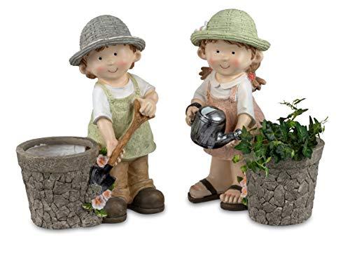 Sommerkinder Gartenfiguren mit Blumenkübel stehend 38 cm hoch im 2er Set Felix und Suse 088