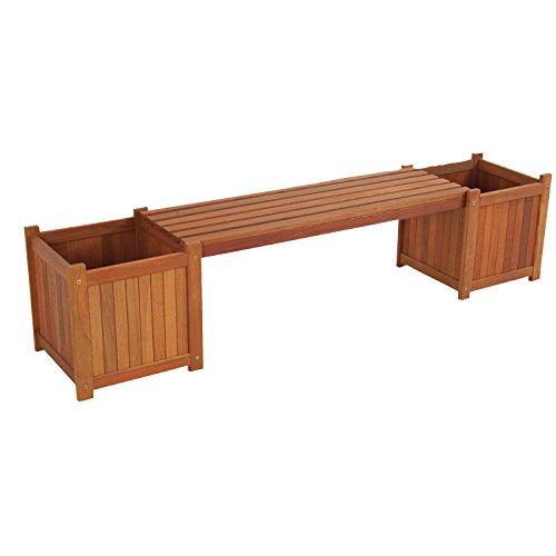 Lesli Living Gartenbank 2in1 Bank mit 2 Pflanzkübeln Hartholz 174 cm Sitzfläche abnehmbar