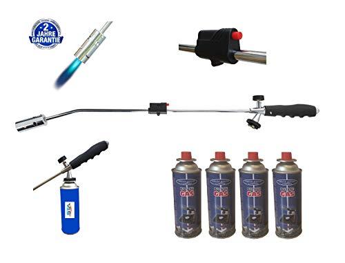 Unkrautbrenner Gasbrenner + 4 Gasflaschen Unkrautvernichter Brenner Abflammgerät Unkrautreiniger