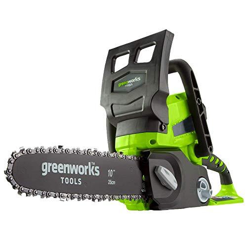 Greenworks Akku-Kettensäge G24CS25 (Li-Ion 24V 4 m/s Kettengeschwindigkeit 25cm Schwertlänge 50ml...