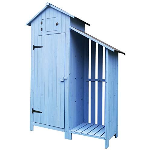 Outsunny Gartenhaus, 2-in-1, Gerätehaus mit Brennholzlagerraum, Geräteschuppen mit 3 Ablagen,...