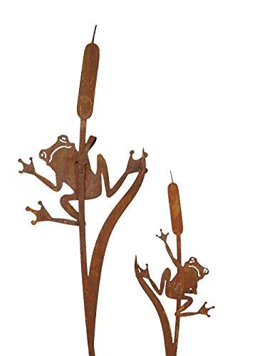 SAREMO Rost Frosch an Schilf Stecker 1Stck. H ca. 90cm Garten Deko Edelrost Desig