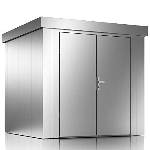 ILESTO Gerätehaus John aus Stahl: 226x226x213cm | Gartenhaus Metall - modern mit Flachdach |...