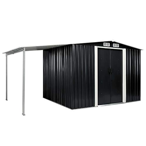 Festnight Gerätehaus mit Schiebetüren Anthrazit 386x205x178 cm Stahl Geräteschuppen Lagerschuppen...