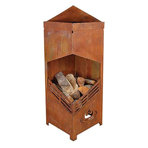 Esschert Design Terrassenofen, Feuerstelle Pagode mit Gitter, aus Gusseisen, ca. 59 cm x 59 cm x 78...