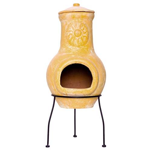 Nexos Terrassenofen Gartenkamin Terracotta 70 cm Gartenofen Yaqui Stahlgestell Feueröffnung 17x13...
