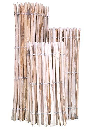 Staketenzaun Kastanie 80 x 500 cm (Lattenabstand 4-5 cm) - Kastanienzaun Natur - Staketen Roll Zaun...