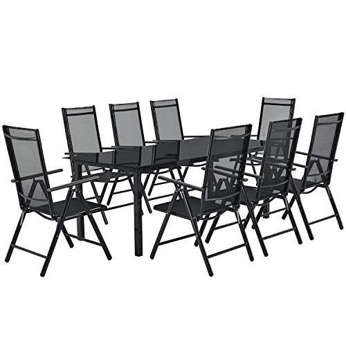 ArtLife Aluminium Gartengarnitur Milano   Gartenmöbel Set mit Tisch und 8 Stühlen   dunkel-grau...